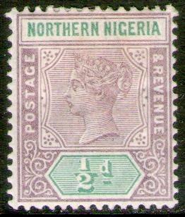 nigeria del norte sello nuevo 1° emisión reina victoria 1900