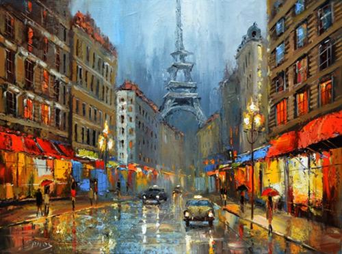 night in paris  - pinturas, cuadros de dmitry spiros