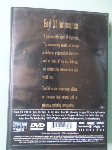nightwish - end of the innocence dvd importado