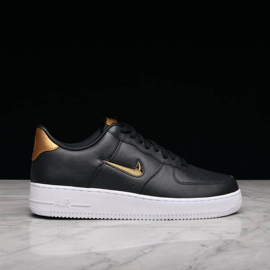 designer fashion 82489 f6b70 nike air force 1 07 lv8 leather jewel black   metallic gold ...