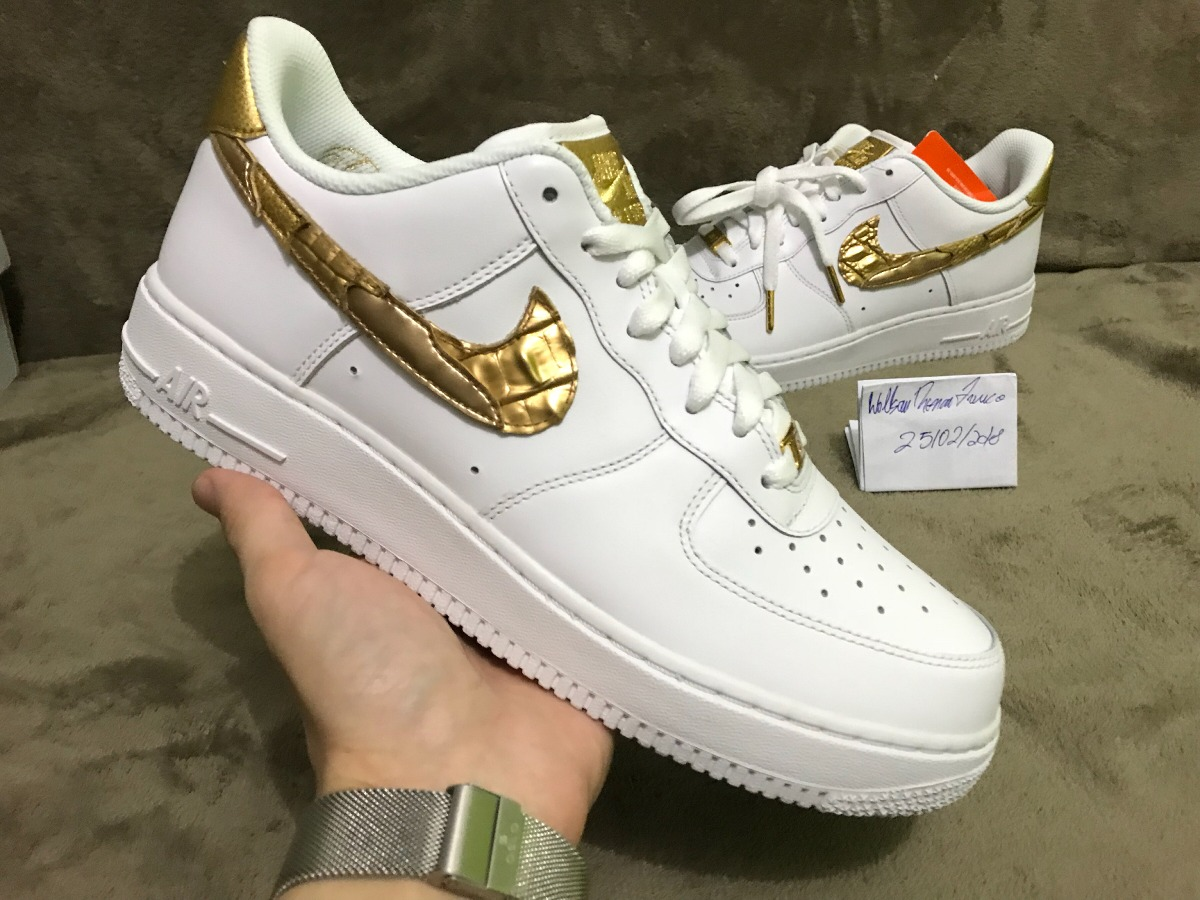 ... new high ae70b b1bb0 nike air force 1 low cr7 golden patchwork. Carregando  zoom. ... e9e64a8c4
