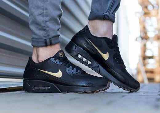 WMNS NIKE AIR MAX 90 ULTRA 2.0 FLYKNIT BLACK GOLD SZ 8 [881563 001]