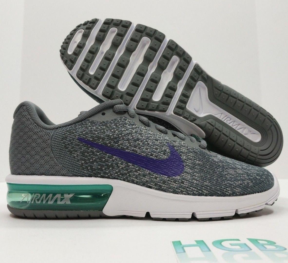 Nike Air Max Sequent 2 Para Mujer Gris Púrpura Verde Runni