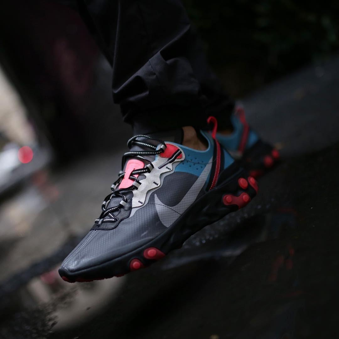 official photos e3fbb c5637 Nike React Element 87 Negro Rojo Talla 41 Nuevo No adidas