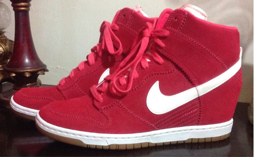 nike tenis dunk high sky casual botín bota roja  gamuza