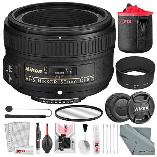 nikon af-s nikkor 50mm f / 1.8g lente básico bundle, filtro
