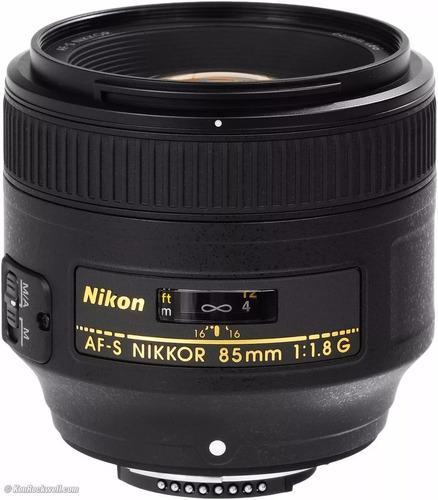 nikon af-s nikkor 85mm f/1.8g + parasol +envio +1 año garant