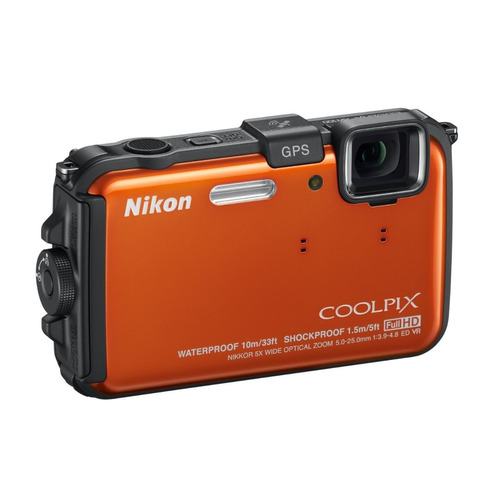 nikon coolpix aw100 naranja 16gb cmos waterproof hd 1080p