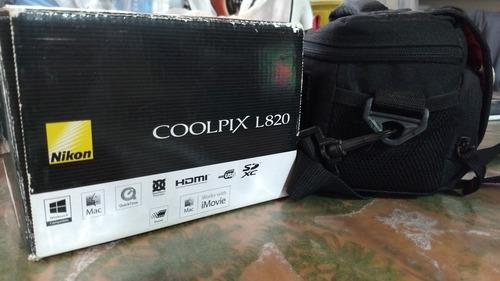 nikon coolpix l820, 16 megapixeles + maletin + memoria 8gb