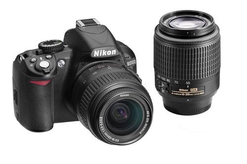 nikon d3100 con lente 18-55mm y lente 55-200mm y bolso
