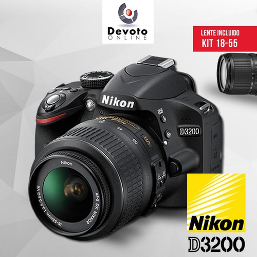 nikon d3200 / d3400 kit 18-55 full hd 24mp en stock!!!!!