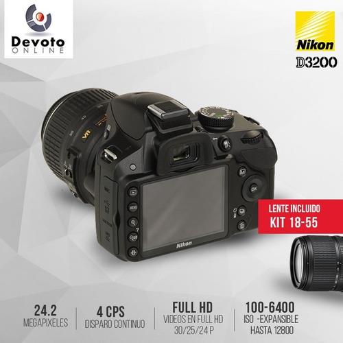 nikon d3200 / d3400 lente 18-55 + memo 16gb cl10 en stock..