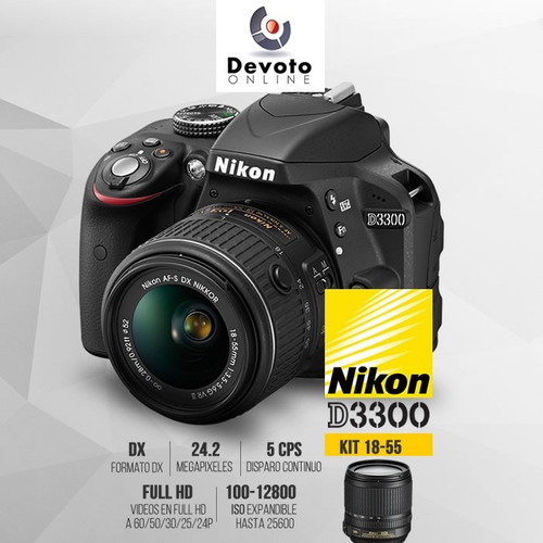 nikon d3300 / 3400  kit 18-55  hd +memo 16gb clase 10 stock
