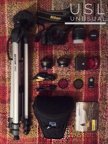 nikon d3300 filtros, tripode, estuche y lente