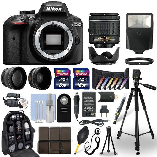 nikon d3400 dslr camera + 18-55mm nikkor lens + 24gb