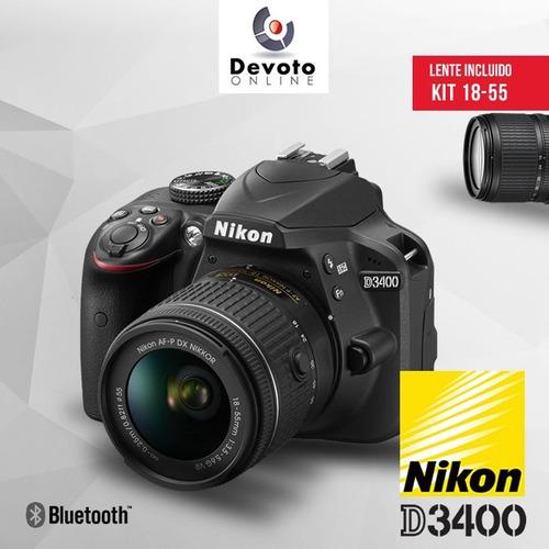 nikon d3400 lente 18-55 +  memoria 16gb + bolso + garantia