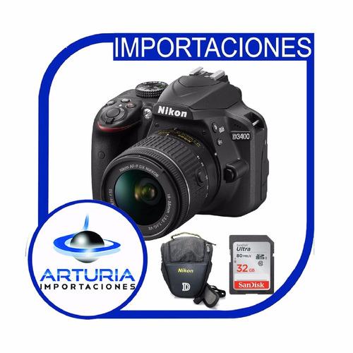 nikon d3400 + lente 18-55mm + memoria de 32gb + bolso