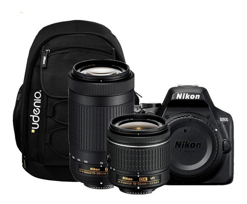nikon d3500 + lentes 18-55 + 70-300mm + mochila fotografica