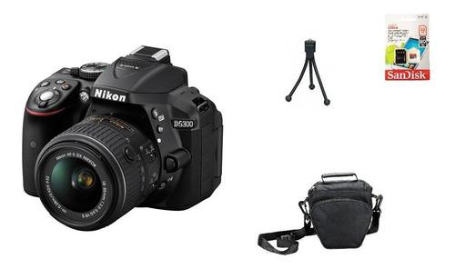 nikon d5300 + 18-55mm + 32gb + bolsa + tripé garantia novo