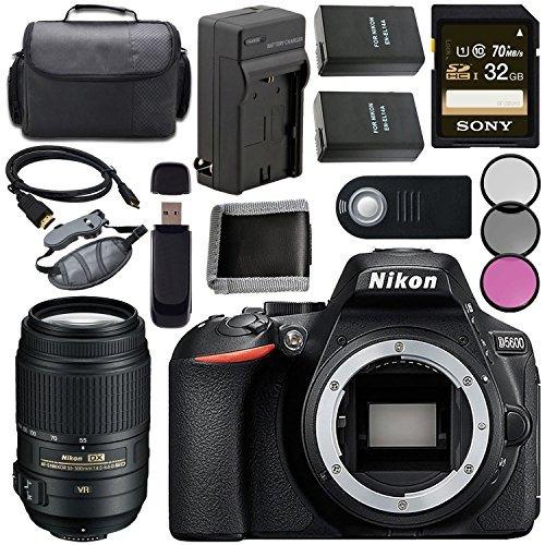 nikon d5600 dslr camera (body only) (black) 1575 + nikon 55-