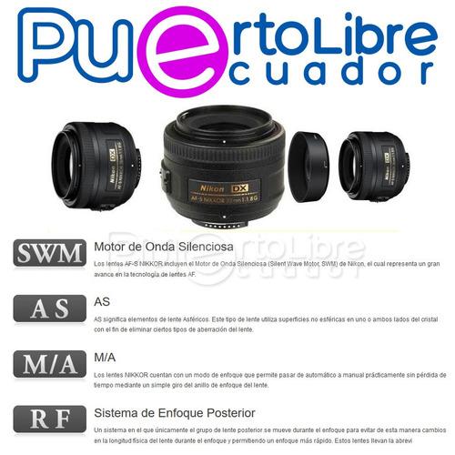 nikon lente camara af-s dx nikkor 35mm f/1.8g + accesorios !