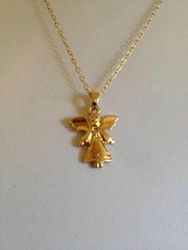 niña ángel con cadena de ancla en chapa de oro 22k