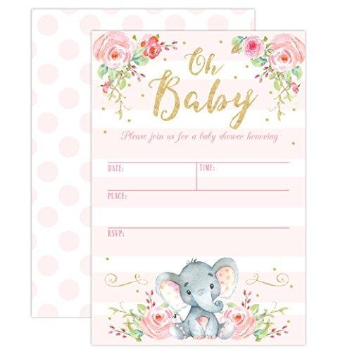 Nina Elefante Bebe Ducha Invitacion Rosa Elefante Baby Sh 96 805