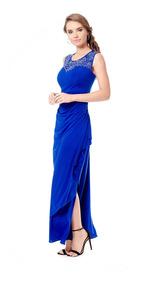 Nína Ferré Vestido Largo Color Azul Rey Apertura En Pierna