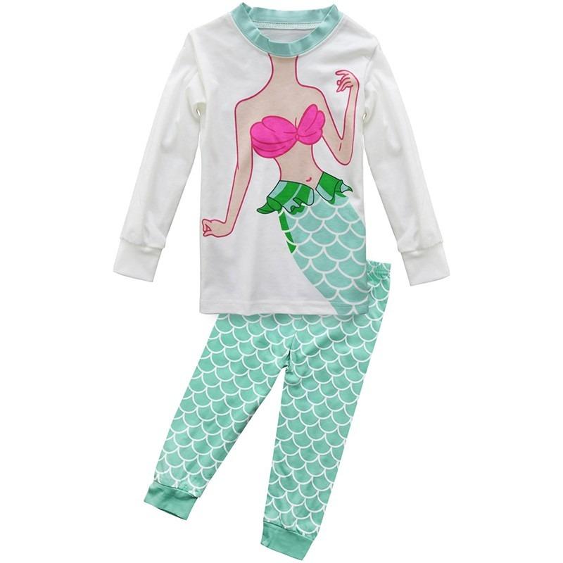 339861b12 niña sirena 2 pieza pijamas conjuntos manga larga pijamas. Cargando zoom.