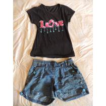 Conjunto Blusa + Short Para Niña Mujer Talla S + Obsequio
