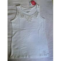 Camisa Justice Blanca Encaje Y Lentejuelas. Talla 10
