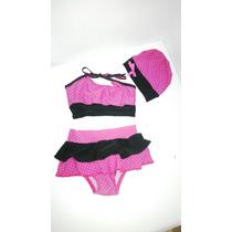 Vestido Baño Bebe Talla 2t Fuscia Negro Puntos, Pañal Gratis