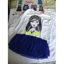 Vestido Blanco Con Faralao Azul Justice. Talla 14