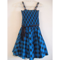 Vestido Azul Con Cuadros Formal De Fiesta Para Niñas 10 - 12