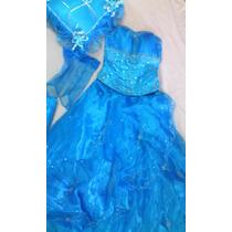 Vestido 15 Años Azul, Incluye Falda Corta Guantes Cojin