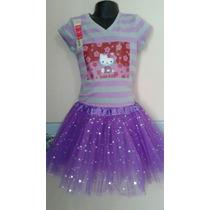 Conjunto Hello Kitty De Tutu Y Camisa Rayas Morada Talla 6