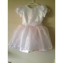 Vestido Blanco, Tul Rosado Cortejos Cumpleaños Talla 2 T 3