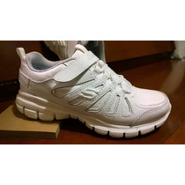 Zapatos Skechers Para Niñas Colegial Blanco Deportivos