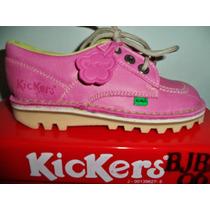 Zapato Kickers En Cuero Talla 32 Color Fucsia Origina No Mrw