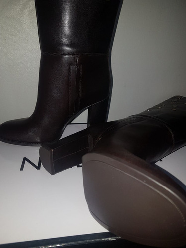 nine west botas de cuero quatrina café n° 38 envío gratis