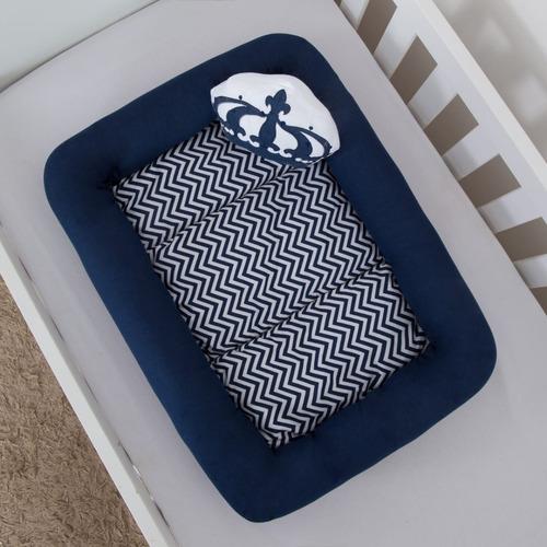 ninho para bebe redutor de berço 2 peças coroa azul marinho