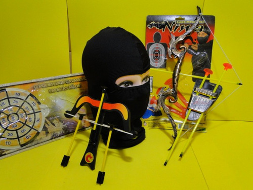 ninja dragão touca mascara arco e flecha e 06 setas