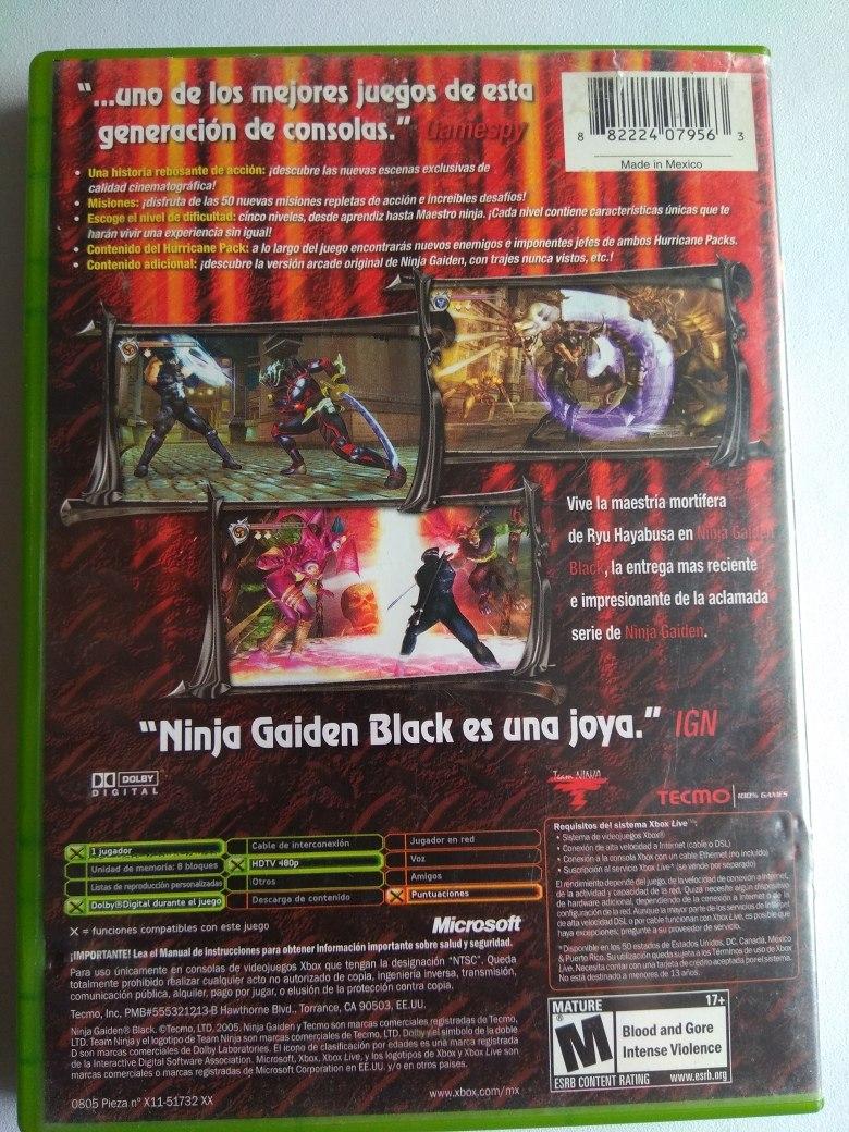 Ninja Gaiden Black Xbox Clasico 800 00 En Mercado Libre