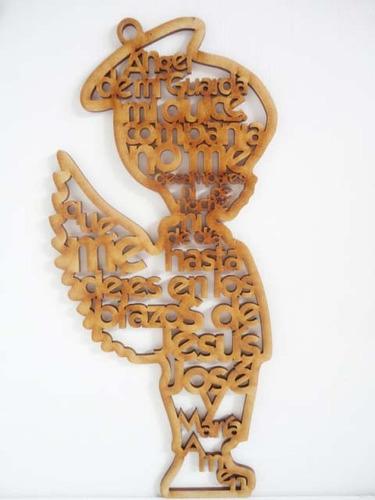 niño angel 20 cm con oracion angel de la guarda mdf cruz