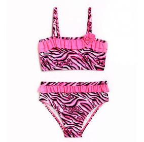 21b47429e2fa Niño Chica Animal Frenesí Rosa Cebra Bikini Traje De Baño