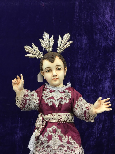 niño dios talla en madera cedro 50cm tipo antiguo