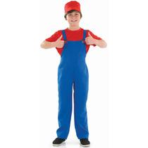 Mario Disfraces - Plomeros Rojo Mate Boy Xl Niños Super Luj