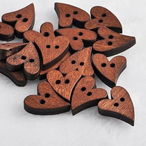 Botones De Madera Forma De Corazon Feliz - Infantiles