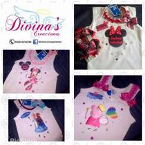 Franelilla Decorada Para Niñas Peppa Pig, Minie, Frozen,etc