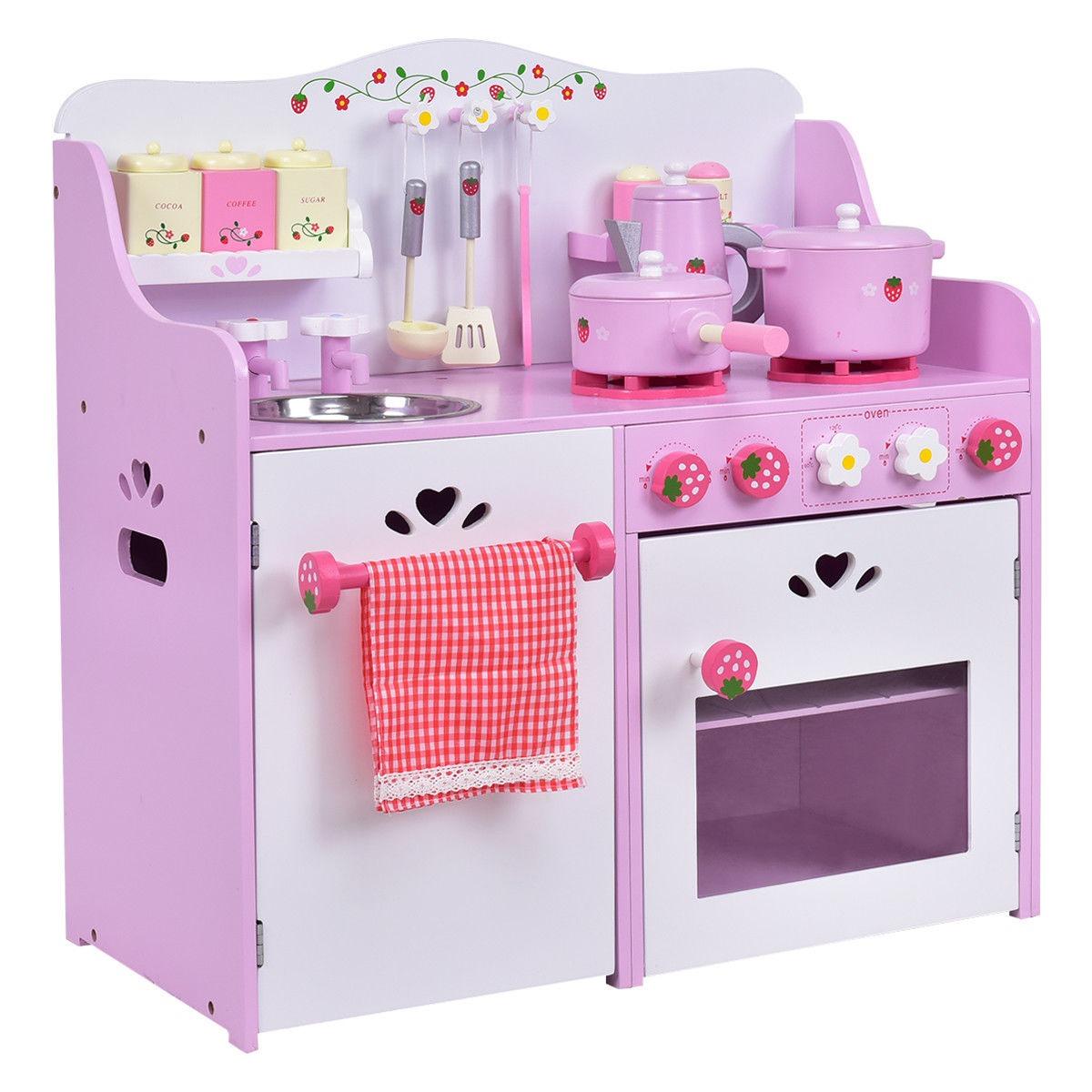 Ni os juego de madera set cocina juguete fresa fingir for Cocina ninos juguete